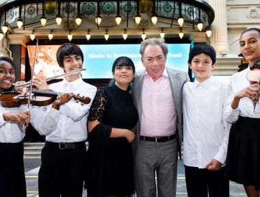 Andrew Lloyd Webber and MiSST students outside the Palladium